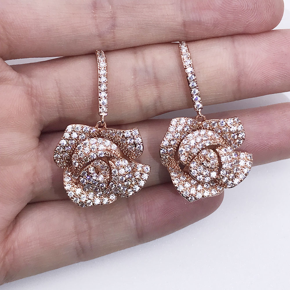 bf33adf28 Geometric Rose Gold Color Flower Long Cubic Zirconia Stones Big Luxury  Micro Pave cz Earrings For Women