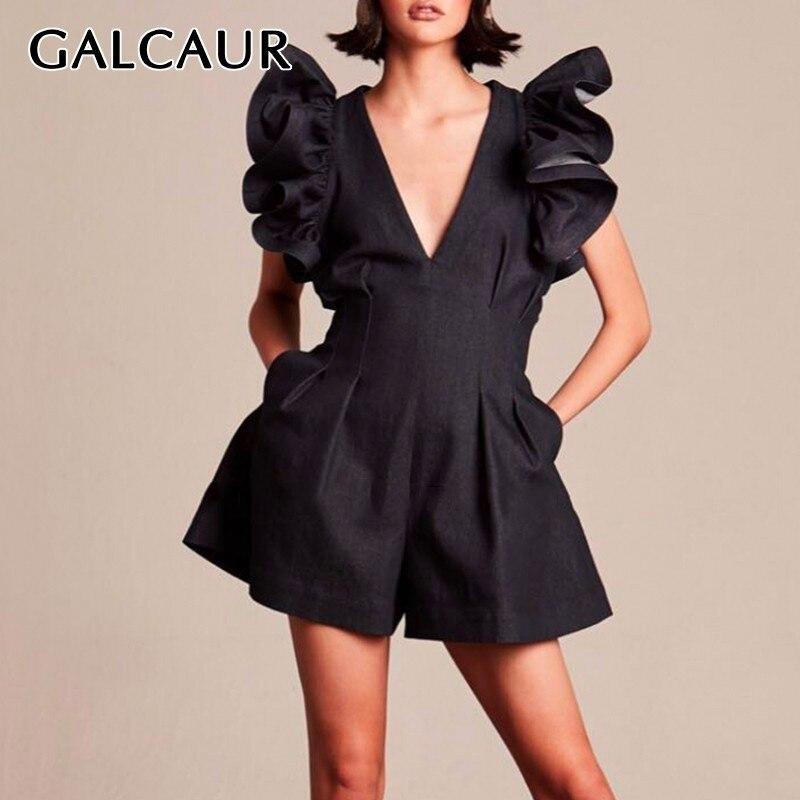 GALCAUR Summer Ruffles Jumpsuit For Women V Neck Sleeveless Off Shoulder High Waist Big Size Shorts Female Fashion 2020 New