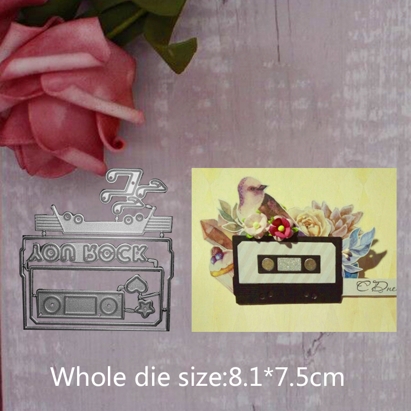 Note radio tape rock word Metal Steel Cutting Embossing Dies For Scrapbooking paper craft home decoration Craft 8 1 7 5 cm in Cutting Dies from Home Garden