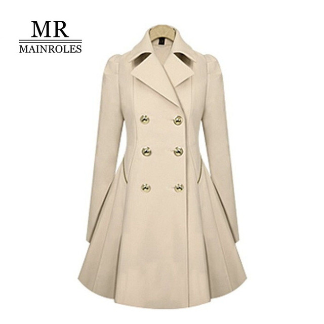 MAINROLES Thin section Trench Coat Overcoat 2017 Double Breasted Slim Coat England Elegant Plus Size Women 2XL Black Blue Green