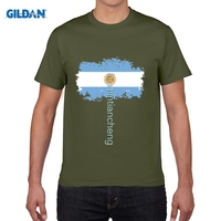 GILDAN Argentina National Flag Tee Shirts Short T Shirts Nostalgic Style Summer Star Players Maradona Messi