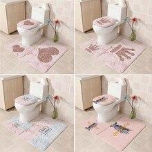 Фланелевый нескользящий коврик для унитаза, Европейский узор, мягкий коврик для ванной комнаты, ковер с нескользящей спинкой, 3 шт., T7