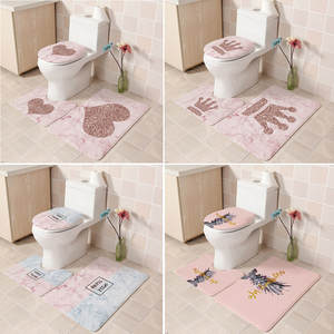 Carpet Toilet-Cover Bath-Mat Seat Non-Slip Print Flannel Soft with Slip-Back 3pcs T7