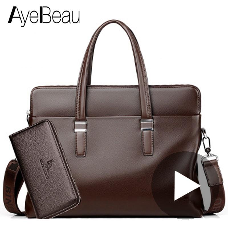 Hand Work Business Office Genuine Leather Male Messenger Bag Men Briefcase For Document Laptop Computer Tablet Handbag Portfolio