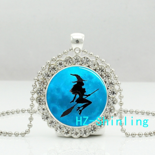 New sexy witch necklace classic witch crystal pendant glass photo new sexy witch necklace classic witch crystal pendant glass photo jewelry ball chain round pendants necklaces aloadofball Image collections