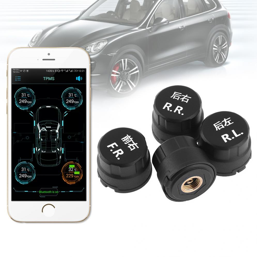 4pcs 5V Smart Car TPMS Bluetooth 4.0 Tyre Tire Pressure Monitoring System APP Display External Sensors Support Android IOS