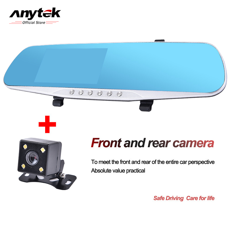 Anytek Night Vision Car Dvr detector Camera Blue Review Mirror DVR Digital Video Recorder Auto Camcorder Dash Cam FHD 1080P 4.0