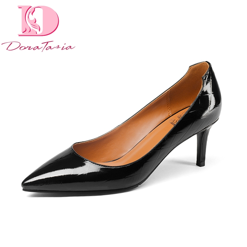 Doratasia New Fashion Genuine Leather Pointed Toe Thin High Heels Solid Shoes Woman Casual Office Spring Pumps Big Size 33-43 summer bling thin heels pumps pointed toe fashion sexy high heels boots 2016 new big size 41 42 43 pumps 20161217