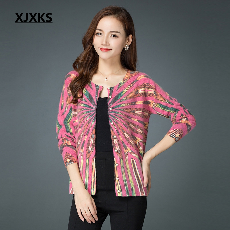 XJXKS beautiful fashion 2019 new arrival print women cardigan sweater single breasted wool and cashmere knit