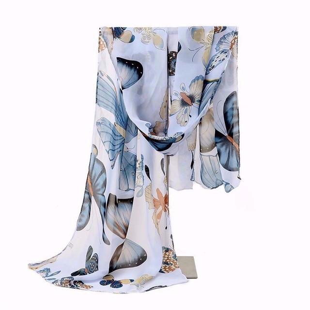 2017 Silk Chiffon Scarf Women Designer Multi Scarves Animal Print Butterfly Printing Scarf Shawl Wrap Female Size 160*45cm