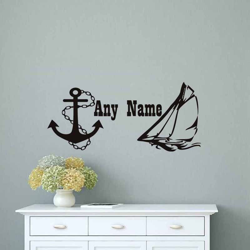 Wall Decal Sailing Boat Nautical Anchor Personalized Name Stickers For Kids Room Interior Design Removable Decor WW 19
