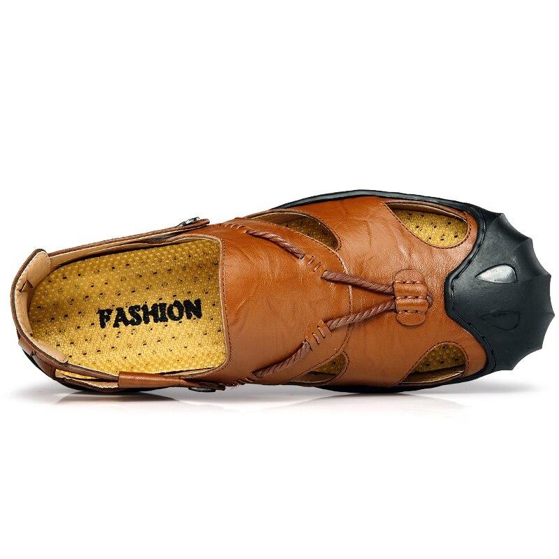 Clax Pria Sandal Luar Musim Panas 2018 Handmade Sepatu Kulit untuk Pria  Sepatu Bernapas Kasual Slip 4596c02a3e