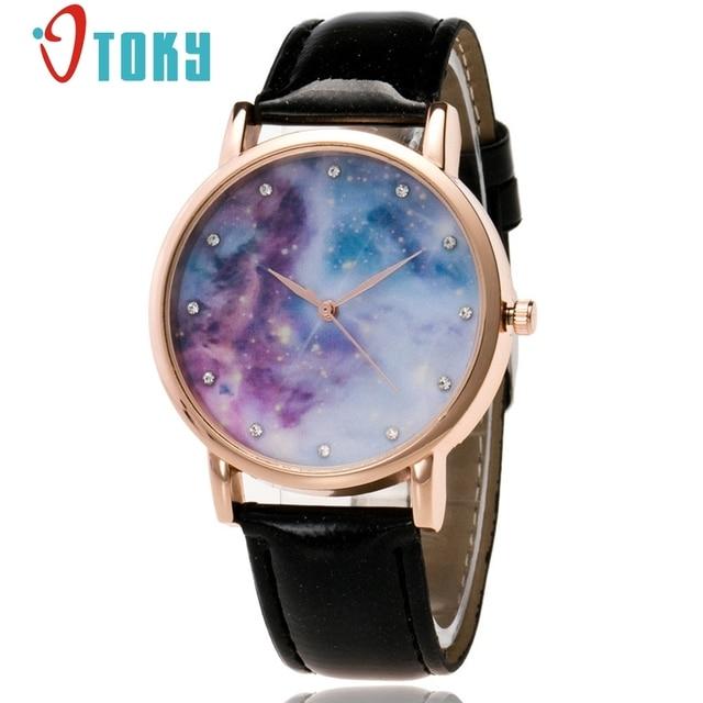 26783049e93 OTOKY Starry Sky Espaço Lua Relógio Unisex Relógio de Pulso de Couro Relógio  de Quartzo relógio