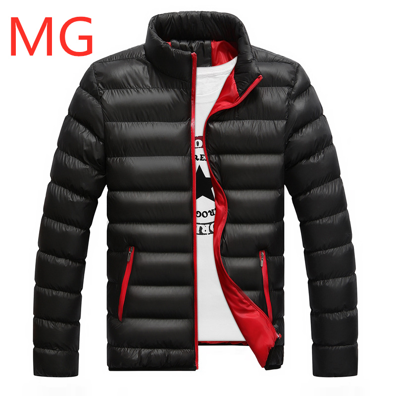 MG For Men Velvet Custom Any Logo Solid Color Duck   Down   Men's Winter Jacket Regular Man Outdoor Wear Male Snow Warm Zipper   Coats