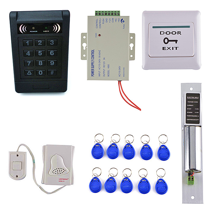 ID Card Keypad Access Control System Kit +Electric Bolt Lock + Access Control + Door Switch Button metal rfid em card reader ip68 waterproof metal standalone door lock access control system with keypad 2000 card users capacity