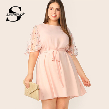 Sheinside Plus Size Pink Applique Contrast Mesh Sleeve Dress Women 2019 Summer Half Sleeve Dresses Ladies Belted A Line Dress