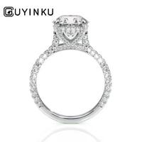 GUYINKU 14K 585 White Gold 2ct 8mm EF Color Moissanite Under Halo Engagement Ring Bridal Ring Set for Women