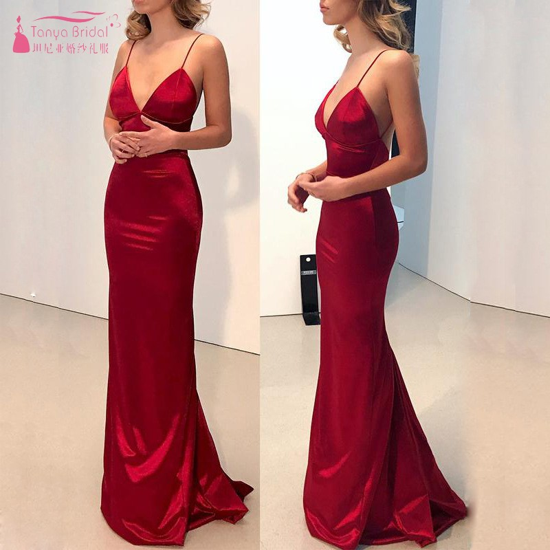 Red   Bridesmaid     Dresses   Long V Neck Backless Simple Wedding Party   Dress   Formal Wear Women Gown JQ157