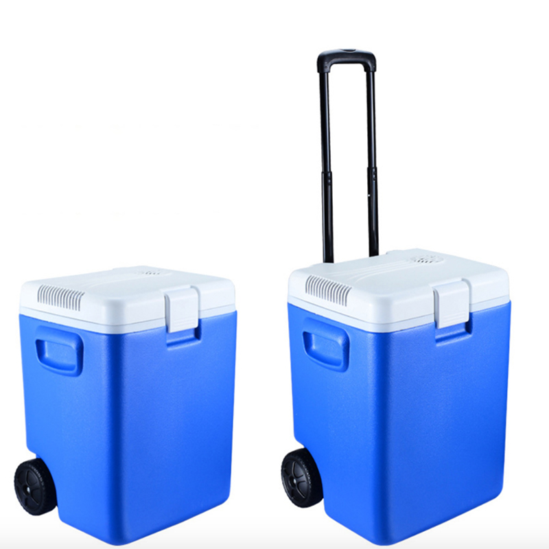 30l Cooler Box With Wheels Telescoping Handle Car Fridge