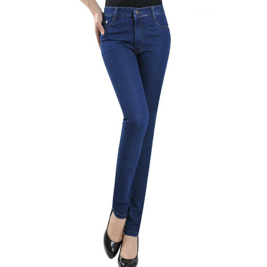 2017 Spring and autumn Middle-aged  jeans high waist elastic pencil pants plus size women clothing 79088