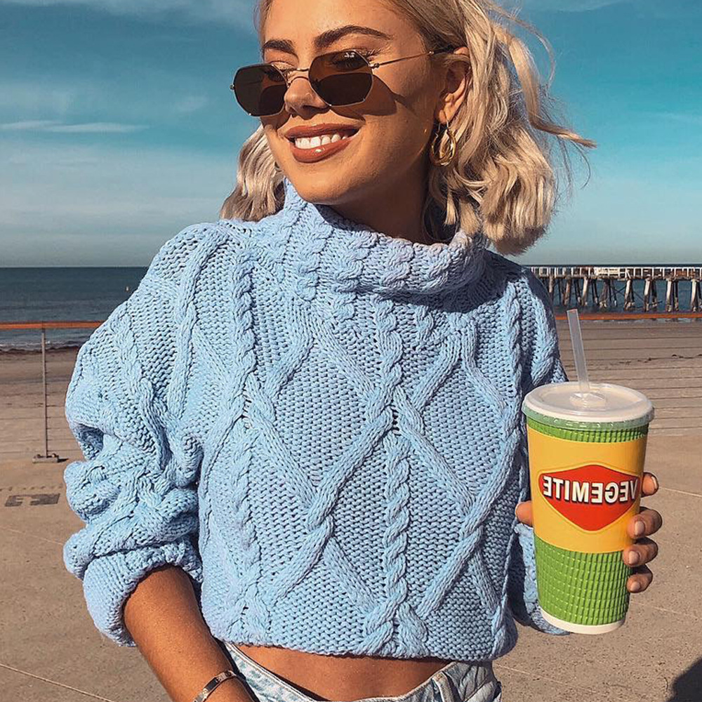 Cryptographic 2019 New Autumn Winter Turtleneck Sweaters for Women Crop Tops Solid Twist Knitting Short Pullover High Neck in Pullovers from Women 39 s Clothing