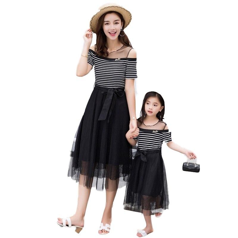 2019 noir épaule dénudée robe fille mère bébé correspondant famille tenues maman fille vêtements été Slim dépouillé robe de fil