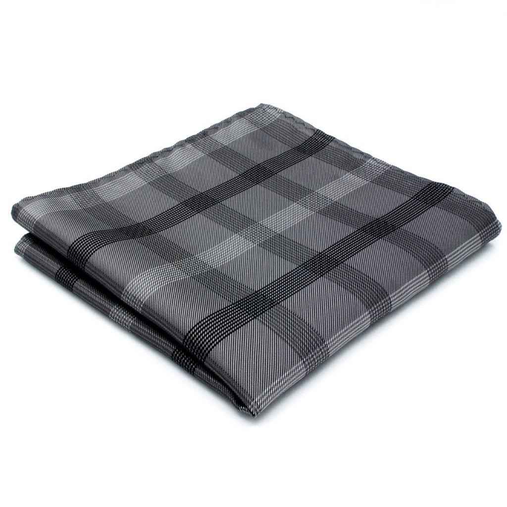 MH01 Checked Dark Gray Mens Pocket Square Silk Fashion Handkerchief Classic Novelty