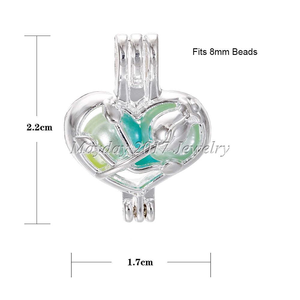 10 pcs Silver Rose in Heart Pearl Cage เครื่องประดับทำอุปกรณ์ลูกปัดจี้น้ำมันหอมระเหย Diffuser Locket สำหรับ Oyster pearl
