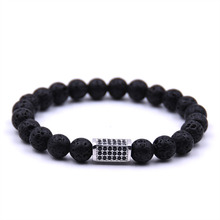 KANGKANG Hot Selling Volcanic stone Bracelet Micro-inlay Zirconia 4 colors Quadrangular prism 8mm Elastic Rope Bead