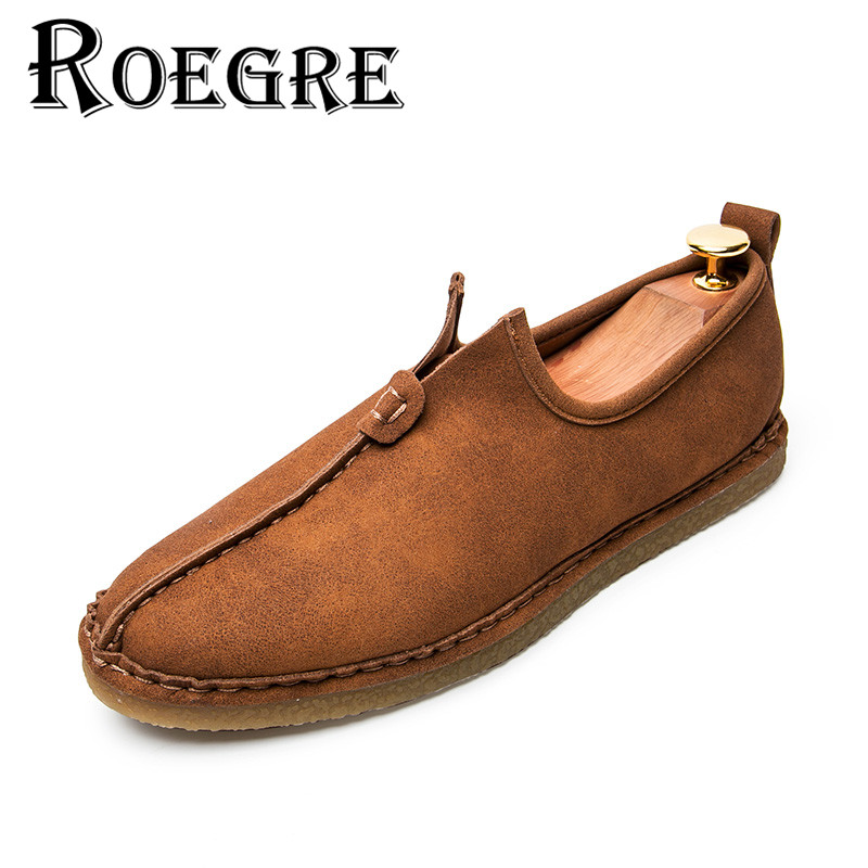 ROEGRE 2017 Handmade Men Loafers Slip On Moccasins Super Soft Comfortable Casual Shoes Flats Black Grey Brown High Quallity 2017 autumn fashion men pu shoes slip on black shoes casual loafers mens moccasins soft shoes male walking flats pu footwear