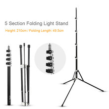 210cm 5 Section Collapsible Light Stand 6.9ft Metal Portable Foldable Tripod Outdoor Light Stand for Studio Flash Speedlite