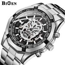 Mens Watches Fashion Men Skull Skeleton Mechanical Automatic Self Wind Watch Stainless Steel Skull Dial Wristwatch стоимость