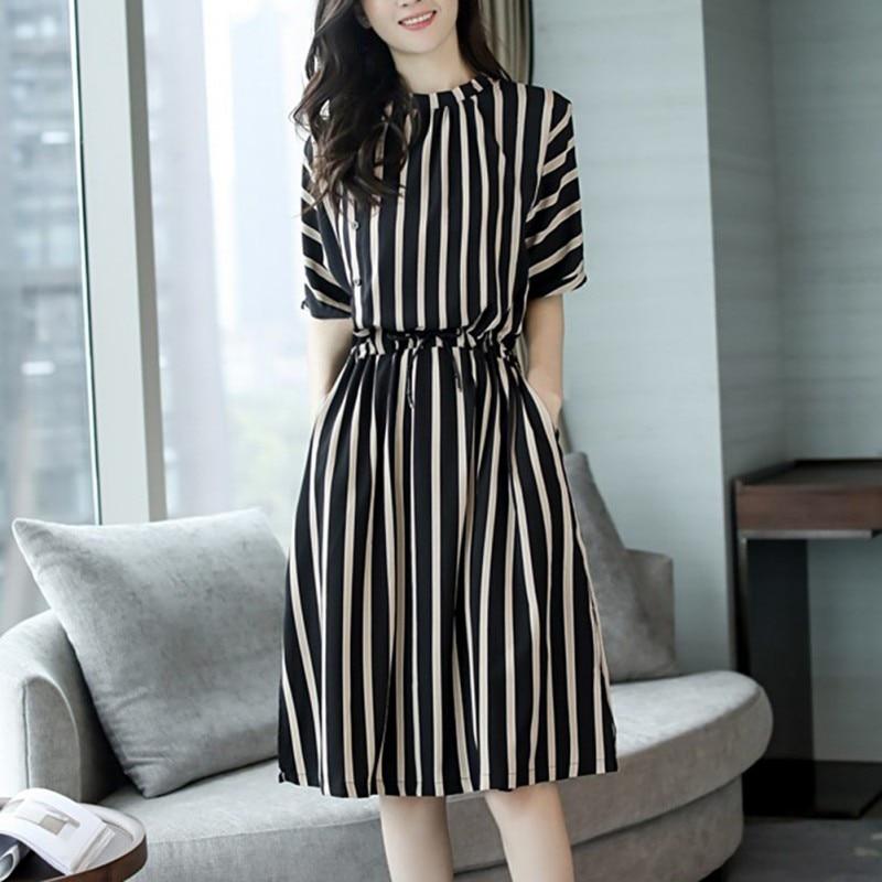 Fashion Women New Elegant Striped Retro 2 Color Dress Vertical Stripes Dress Female Summer Korean Version 1