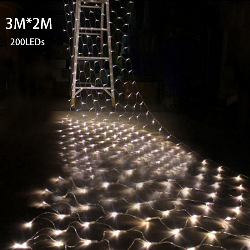 tail plug 32m 200 led wedding garden new year net mesh garland led christmas decoration outdoor fairy string light eu plug 220v in led string from lights