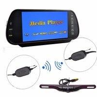 Auto 7 inch HD Achteruitkijkspiegel Monitor + Draadloze Plaat Mount Backup Camera IR Nachtzicht Parking Kit