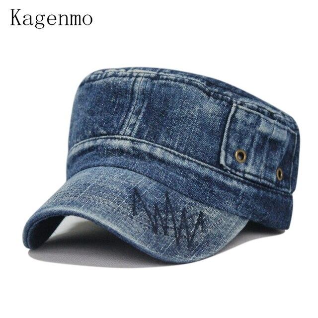 239129d166b0 Kagenmo Mode lavage vieux-façonné denim respirant armée cap loisirs  casquette de baseball 4 couleur