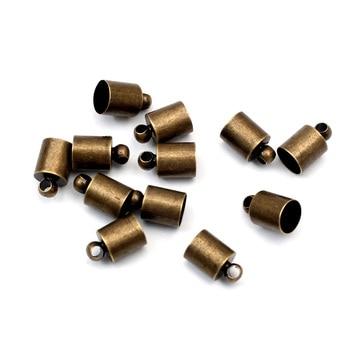 50 Uds 6x10mm hallazgos de joyería de metal bronce cuentas topes para extremos conectores para la fabricación de joyas accesorios Diy para 4-5mm Cordón de cuero