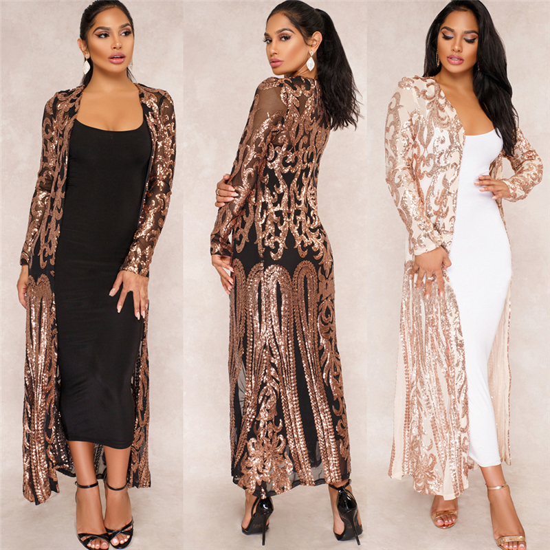 RICHE BAZIN 2018 New Cloak of the coat African riche bazin dress for women Sexy Sequins Perspective Cardigan Cloak of the coat