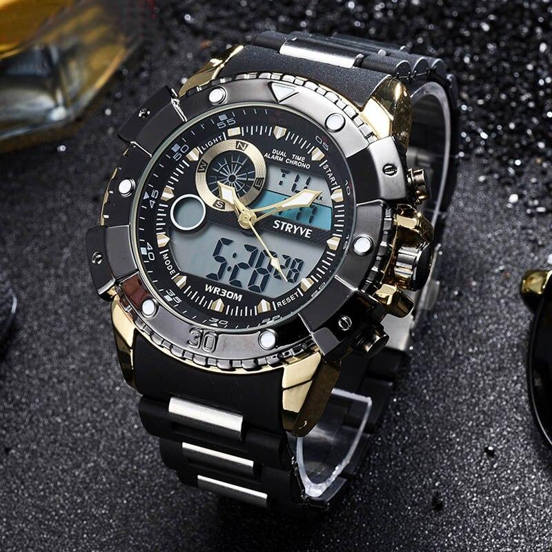 Mode de luxe marque hommes montre piqué 30 m numérique militaire montres hommes décontracté électronique montres Relojes vente