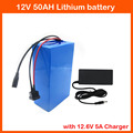 350W High capacity 12V 50AH lithium battery pack 12V 50000MAH rechargeable battery with 12.6V 5A charger 30A BMS free shipping
