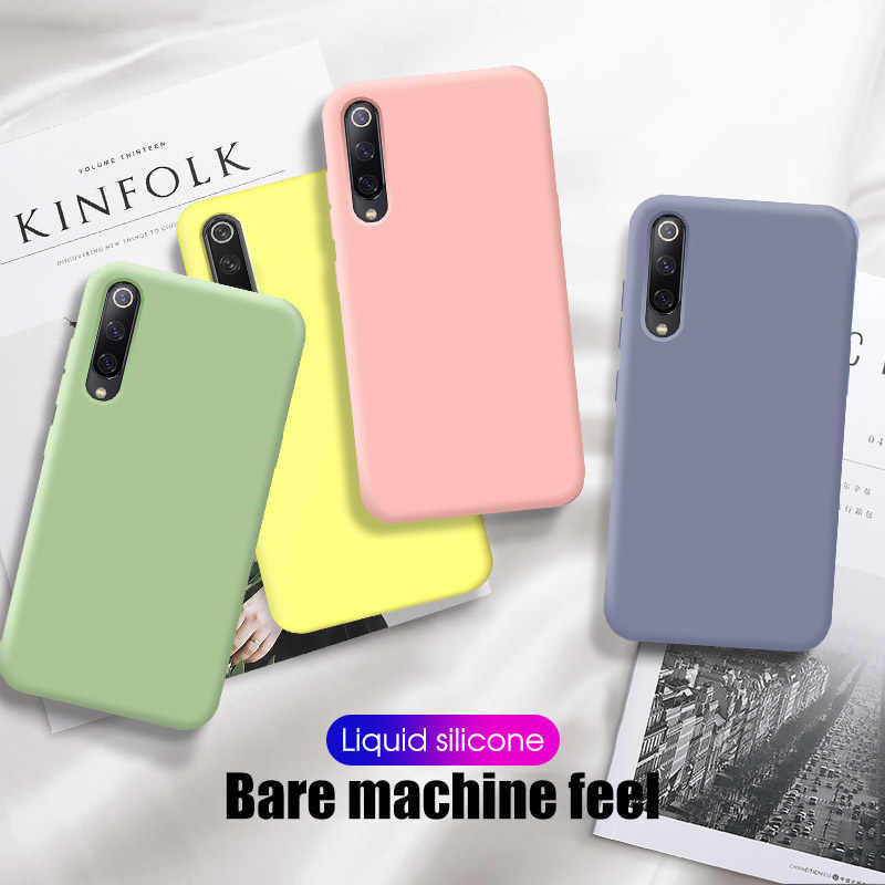 Liquid Silicone Case For Xiaomi Mi 9 SE 9T Mi8 Lite A2 Soft-Touch Protective Cover For Redmi Note 7 6 Pro K20 Pro 7 Note7 Coque