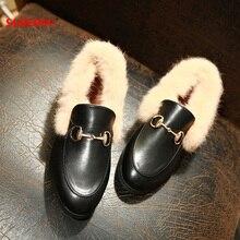 Größe 33-40 Echtes Leder Winter Luxus Frauen Leder Loafer Casual Dame Winter Echtpelz Schuhe Mode Verdickung Warme schuhe