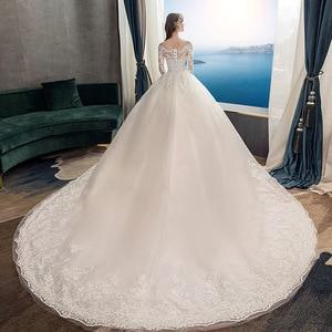Image 5 - 2021 חדש Vintage O צוואר מלא שרוול שמלות כלה אשליה פשוט תחרה רקמה תפור לפי מידה כלה שמלת Vestido דה Noiva L