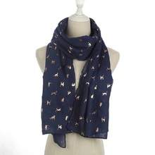 WINFOX 2018 New Fashion Ladies Navy Grey Foil Gold Cat Scarf For Women
