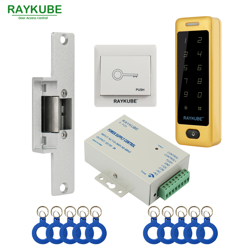 RAYKUBE Access Control Kit Electric Strike Lock + Access Control RFID Metal Touch Password Keypad +ID Keyfobs+Exit Button raykube glass door access control kit electric bolt lock touch metal rfid reader access control keypad frameless glass door