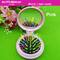 Makeup Mirror Folding Comb With Mirror Mini Brush Hair Brushes For Girl Color Comb Travel Accessory Portable Folding Mini Round