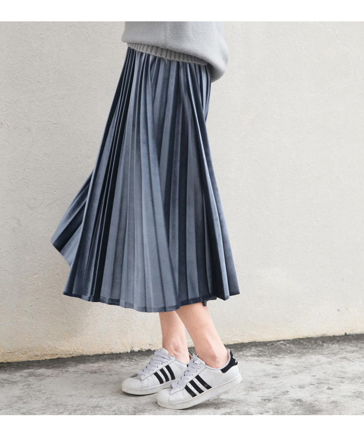 Women Long Metallic Silver Maxi Pleated Skirt Midi Skirt High Waist Elascity Casual Party Skirt 4