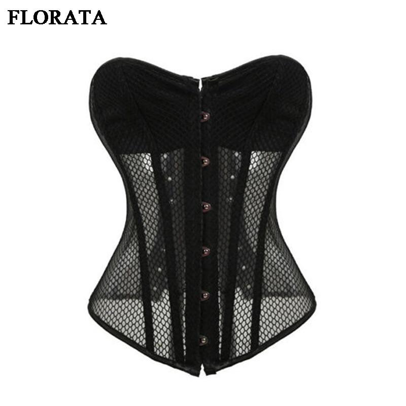 FLORATA X Women's Sexy Mesh Corsets Black White Steampunk Gothic Waist Trainer Lingerie+G-string Corset set Halloween