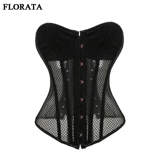 d172ca67d5f78a FLORATA X Women s Sexy Mesh Corsets Black White Steampunk Gothic Waist  Trainer Lingerie+G-