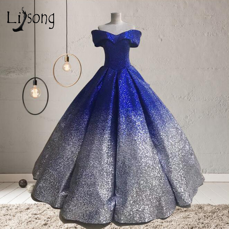 Middle East Contrast Color Sequined Prom Dresses Abiye Puffy Ball ...
